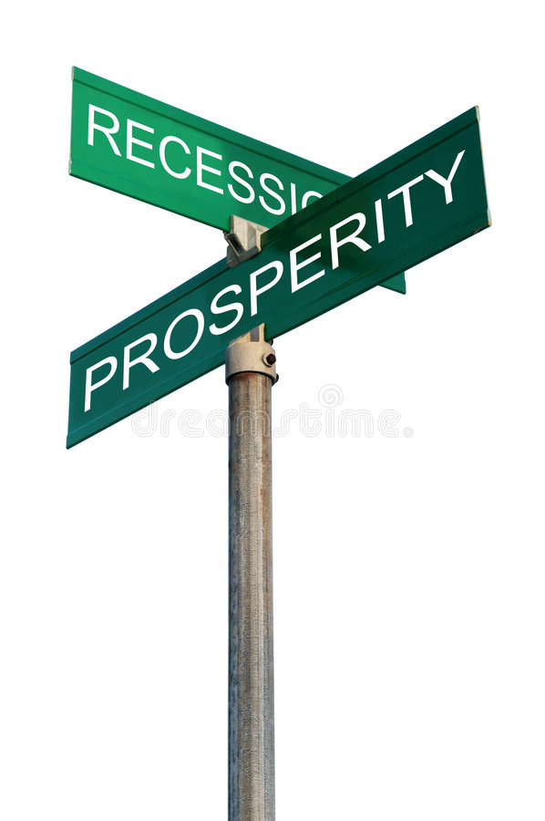 Street Sign With Financial terms. Street signs with recession and prosperity isolated over a white background stock images