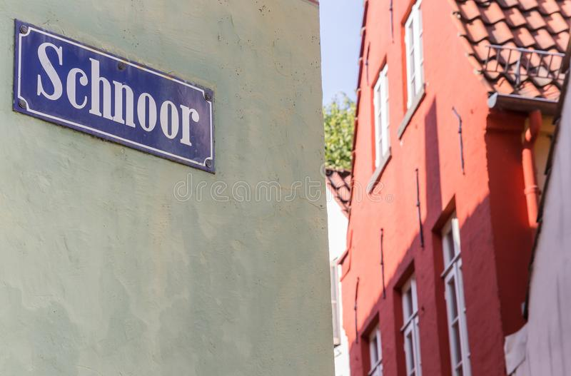Street sign in the historic Schnoor district of Bremen. Germany royalty free stock photography