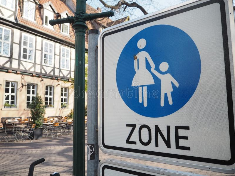 Street sign indicating a pedestrian zone in the old town of Hannover stock photography