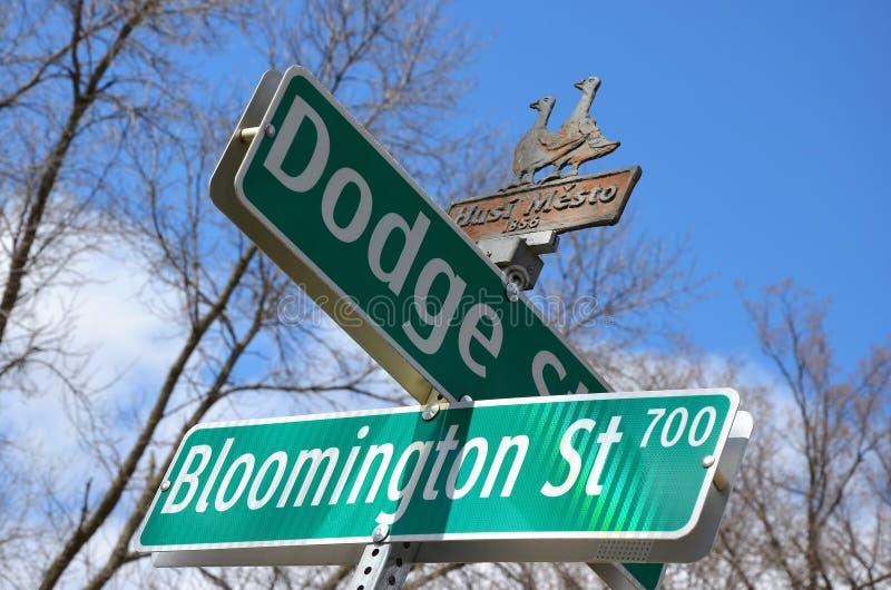 Street sign - Iowa City stock images