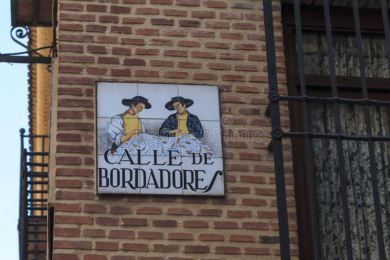 Street sign in Madrid stock photography