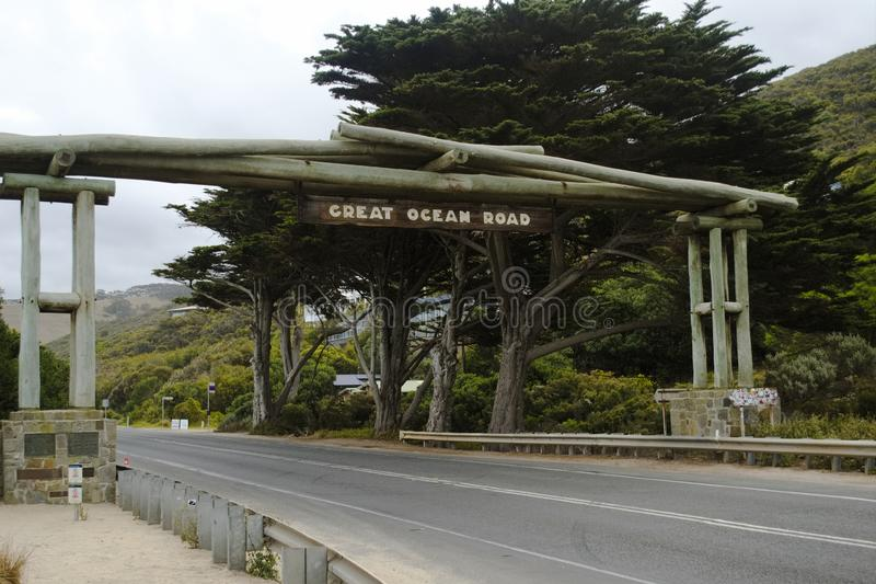 Street sign marking the start of the Great Ocean Road, Victoria, Australia. stock photography