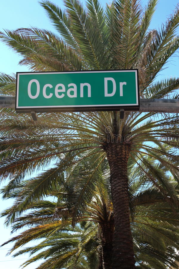 Street sign of Ocean Drive in South Beach Florida. Ocean Drive street sign in South Beach Florida with palm trees in background royalty free stock images