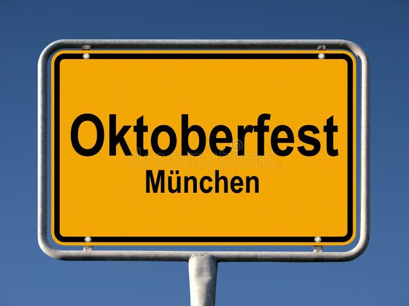 Street sign Oktoberfest in Munich stock photo