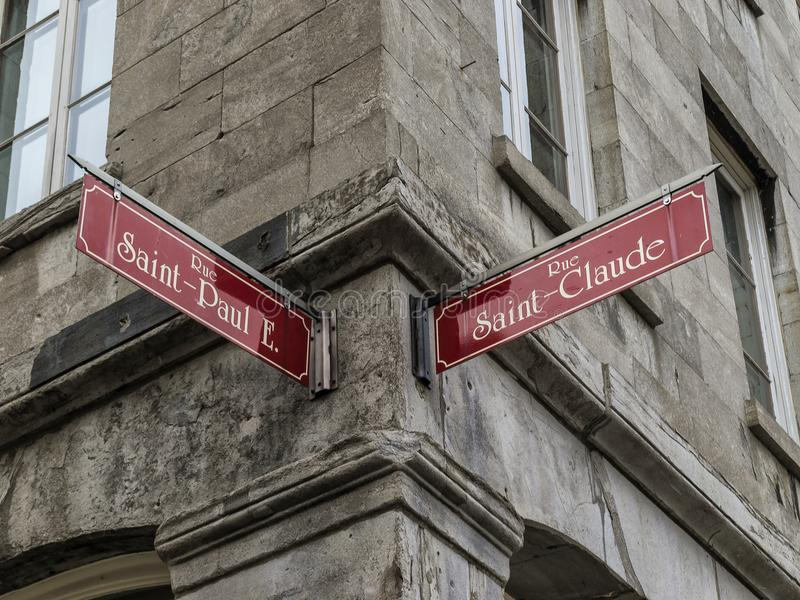 Street sign in Old Montreal royalty free stock images