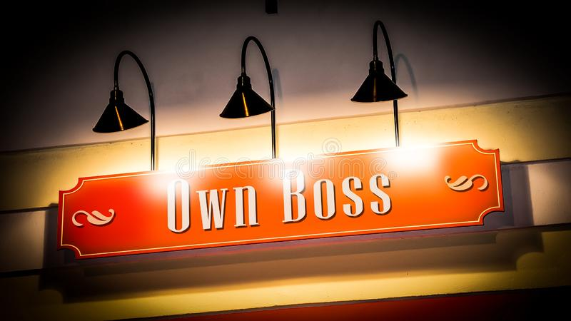 Street Sign Own Boss. Street Sign the Direction Way to Own Boss stock photos