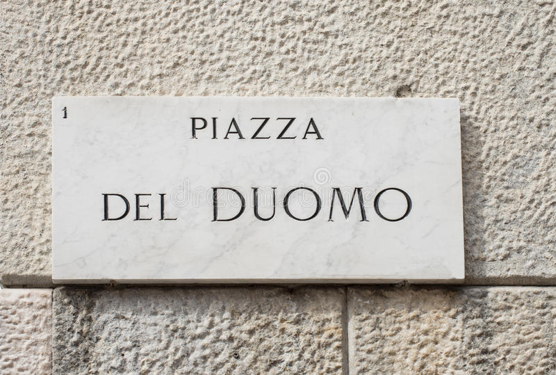 Street sign of piazza del Duomo in Milan. Italy royalty free stock images
