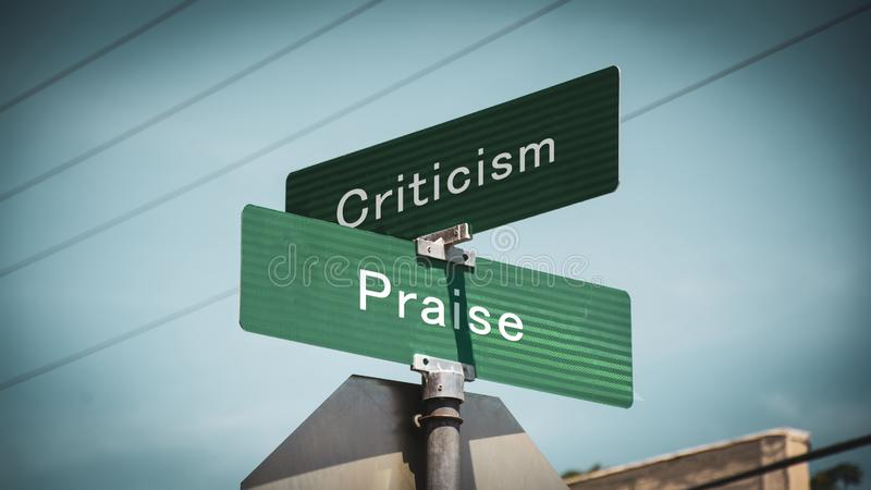 Street Sign Praise versus Criticism royalty free illustration