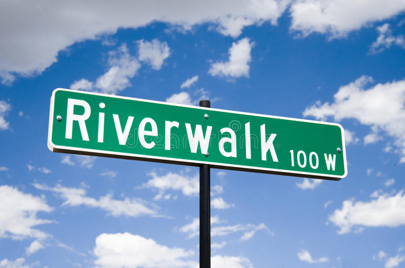 Street sign in at the Riverwalk in Pueblo Colorado. With a deep blue sky royalty free stock photo