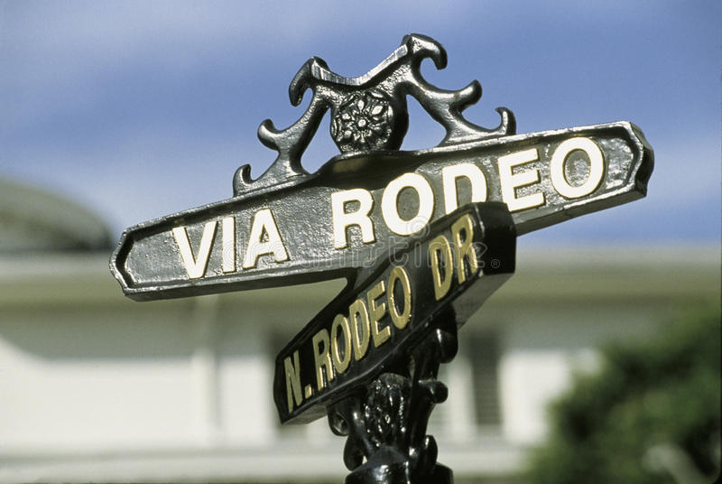 Street sign for Rodeo Drive, Beverly Hills, CA stock photo