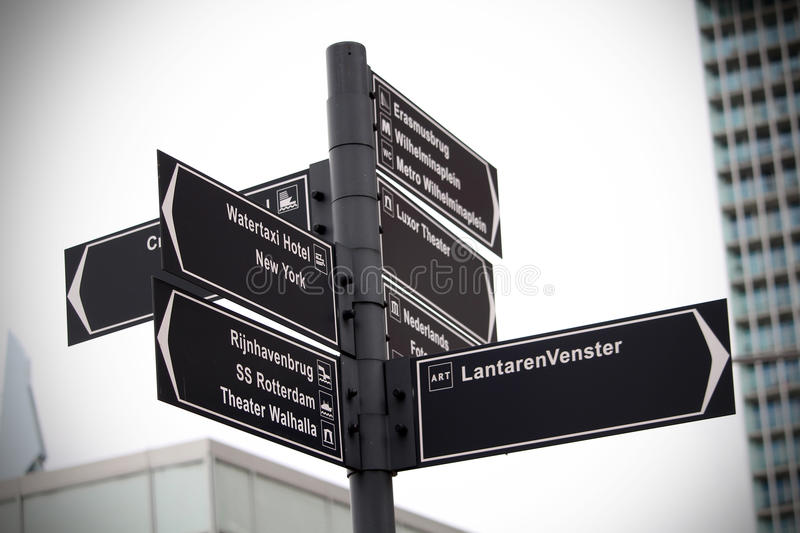 Street sign in Rotterdam stock photography