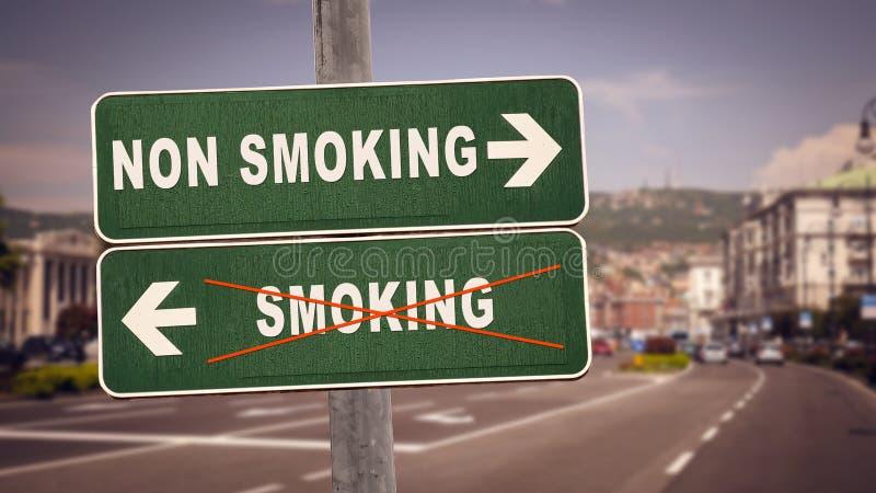 Street Sign Smoking versus Non Smoking. Street Sign the Direction Way to Smoking versus Non Smoking royalty free stock photography