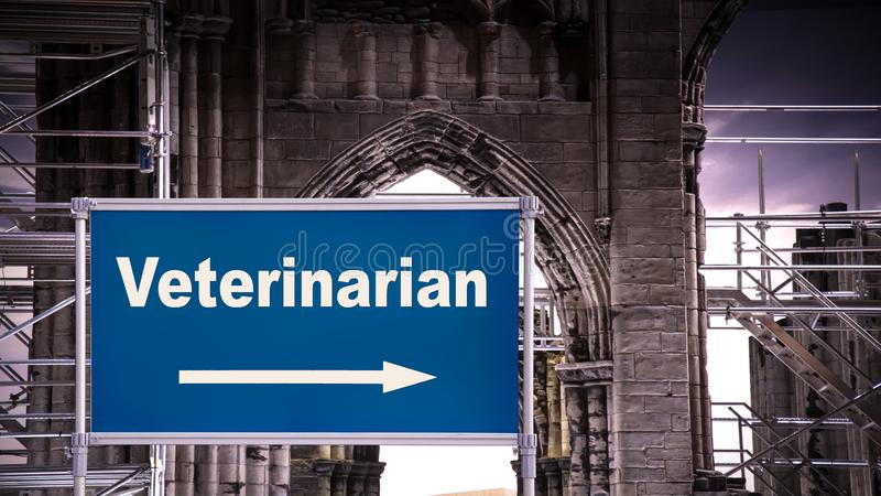 Street Sign to Veterinarian. Street Sign tne Direction Way to Veterinarian stock images
