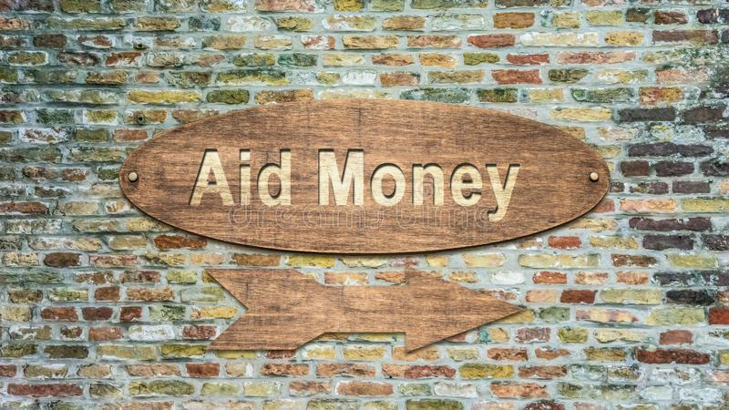 Street Sign to Aid Money. Street Sign the Direction Way to Aid Money stock image