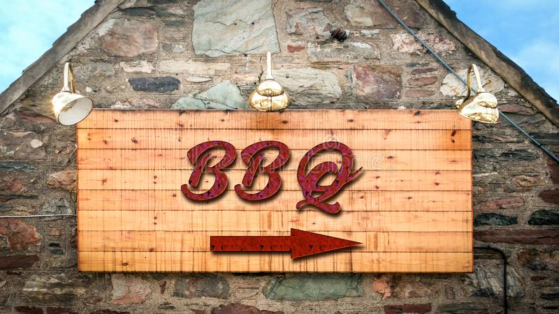 Street Sign to BBQ royalty free illustration