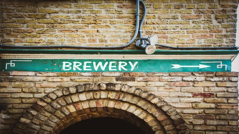 Street Sign to Brewery. Street Sign the Direction Way to Brewery stock photo