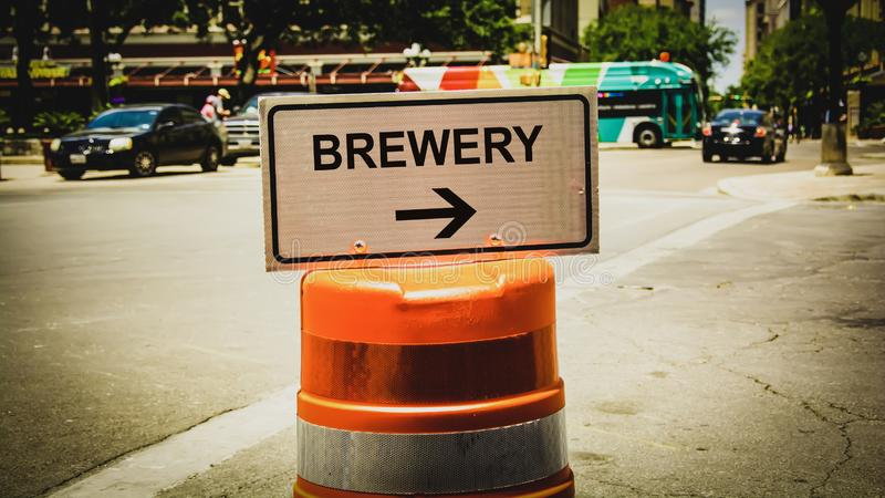 Street Sign to Brewery. Street Sign the Direction Way to Brewery royalty free stock photography