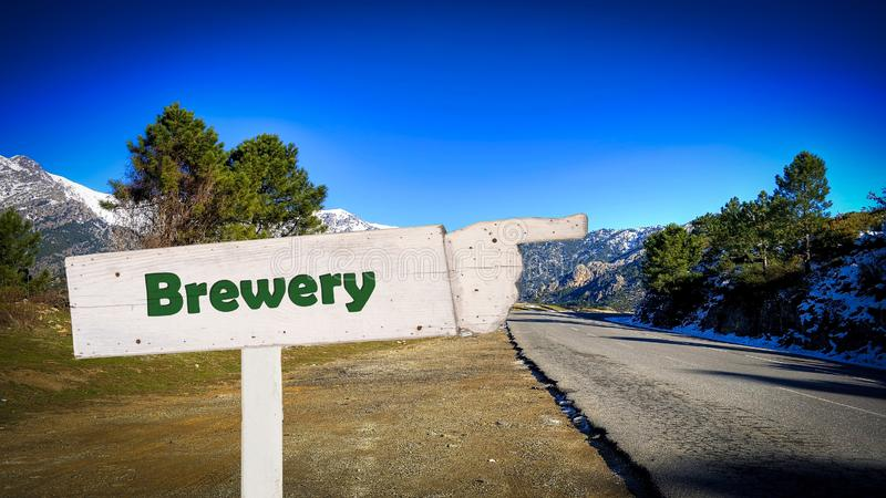 Street Sign to Brewery. Street Sign the Direction Way to Brewery royalty free stock image