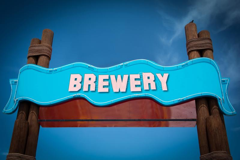 Street Sign to Brewery. Street Sign the Direction Way to Brewery stock photos