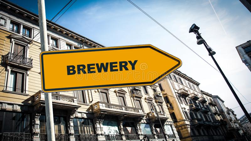 Street Sign to Brewery. Street Sign the Direction Way to Brewery royalty free stock images