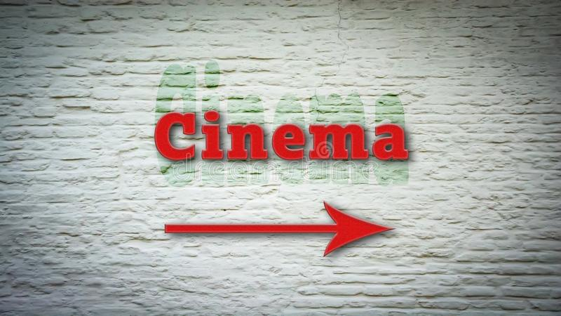 Street Sign to Cinema. Street Sign the Direction Way to Cinema stock photo