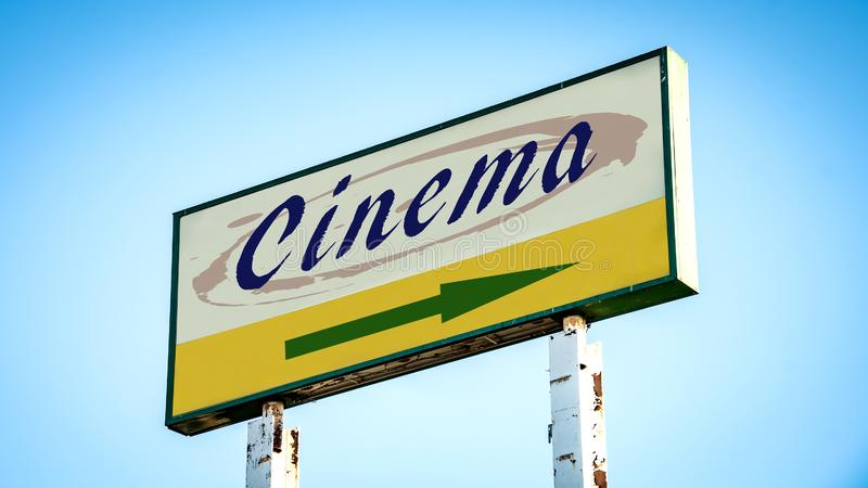 Street Sign to Cinema. Street Sign the Direction Way to Cinema royalty free stock images
