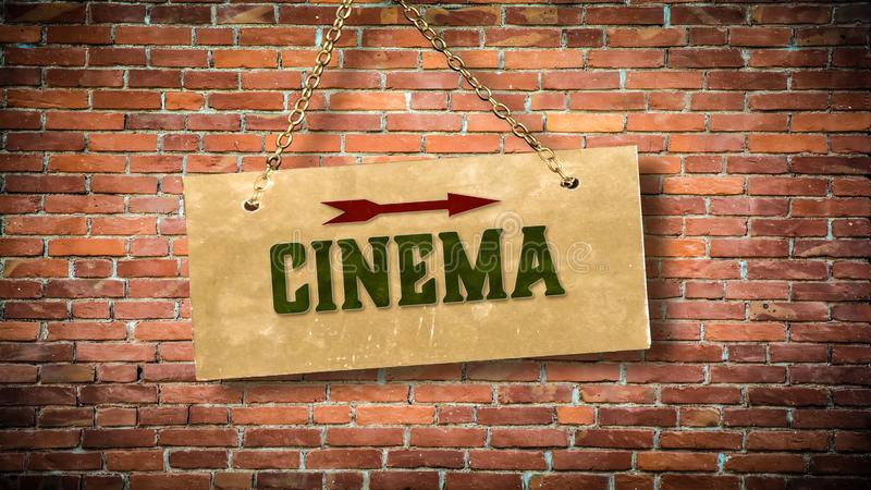 Street Sign to Cinema. Street Sign the Direction Way to Cinema royalty free stock image