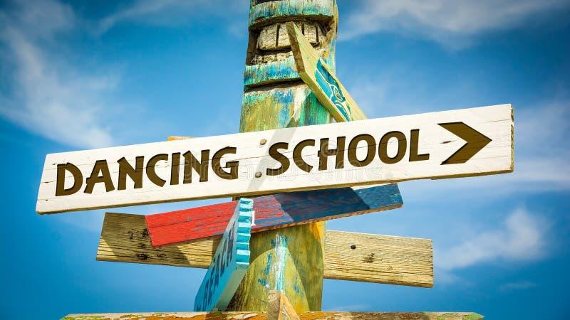Street Sign to DANCING SCHOOL. Street Sign the Direction Way to DANCING SCHOOL stock image