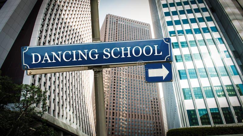 Street Sign to DANCING SCHOOL. Street Sign the Direction Way to DANCING SCHOOL stock photos