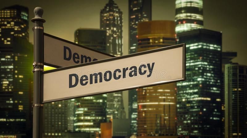 Street Sign to Democracy. Street Sign the Direction Way to Democracy royalty free stock photos