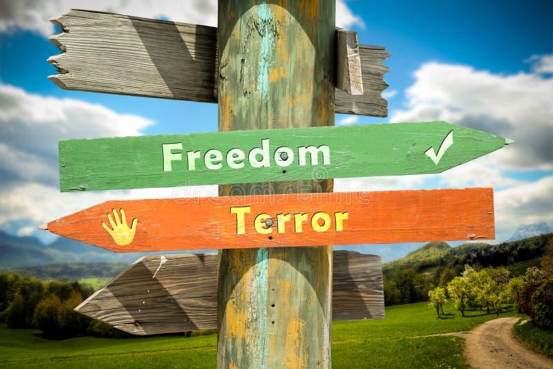 Street Sign to Freedom versus Terror. Street Sign the Direction Way to Freedom versus Terror royalty free illustration