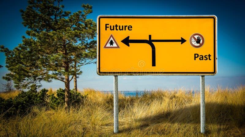 Street Sign to Future versus Past. Street Sign the Direction Way to Future versus Past royalty free illustration