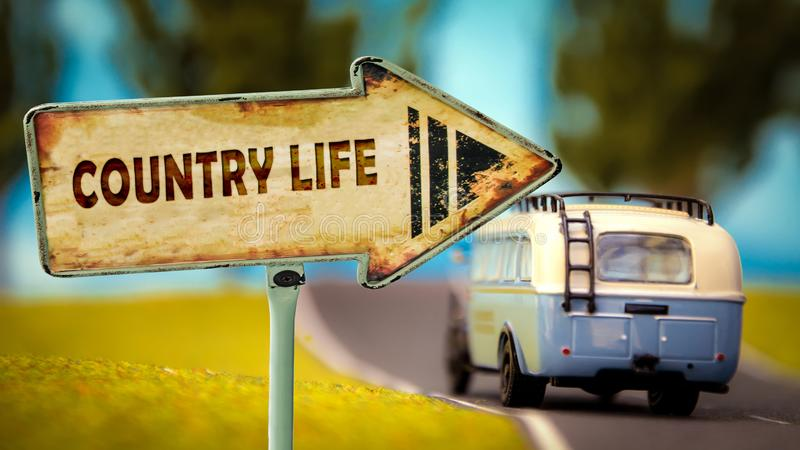 Street Sign to Country Life stock image