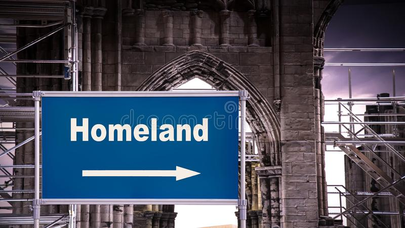 Street Sign to Homeland. Street Sign the Direction Way to Homeland stock images