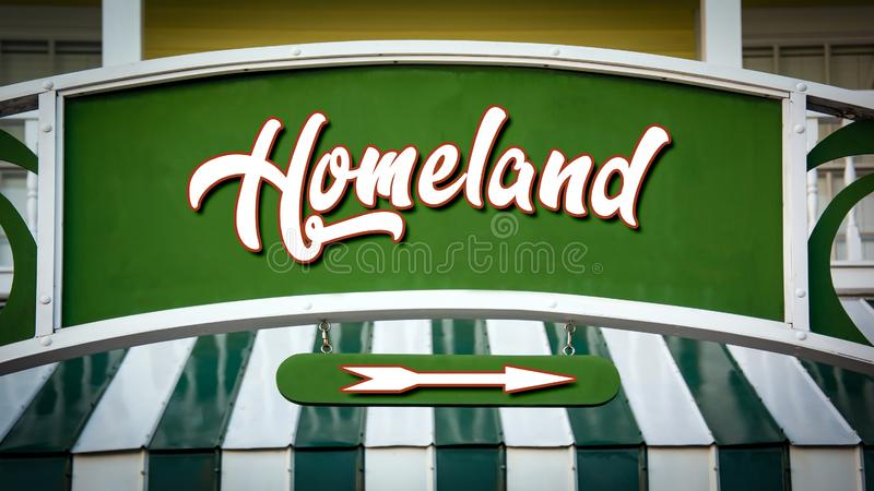 Street Sign to Homeland. Shop royalty free stock photography