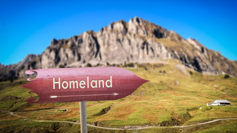 Street Sign to Homeland. Street Sign the Direction Way to Homeland stock image