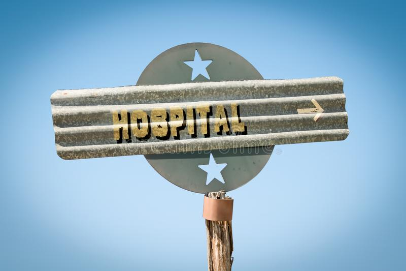 Street Sign to Hospital royalty free illustration