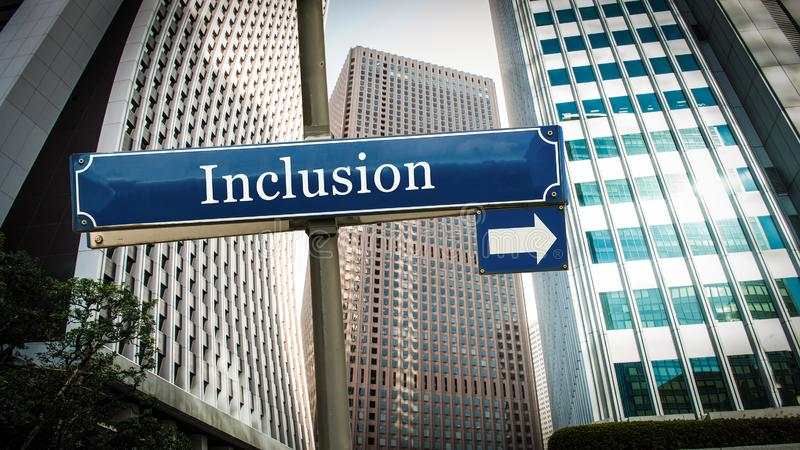 Street Sign to Inclusion. Street Sign the Direction Way to Inclusion vector illustration