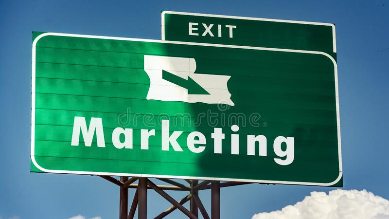 Street Sign to Marketing. Street Sign the Direction Way to Marketing stock image