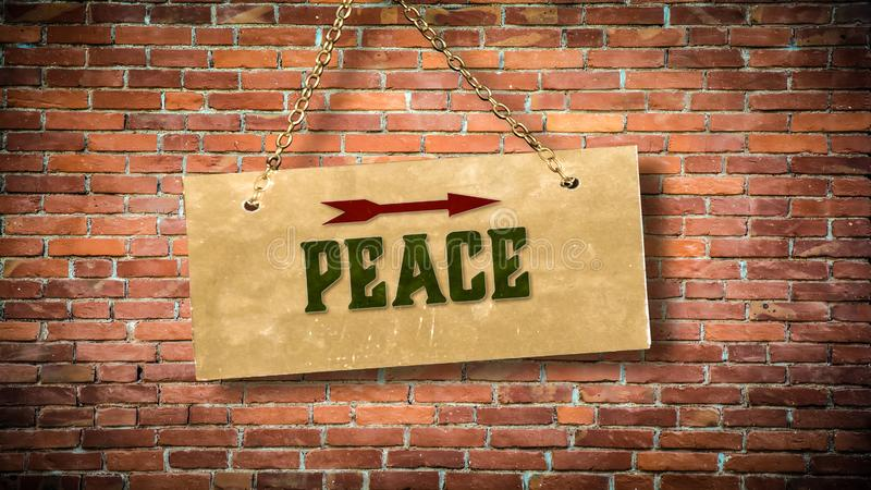 Street Sign to Peace. Street Sign the Direction Way to Peace stock photos