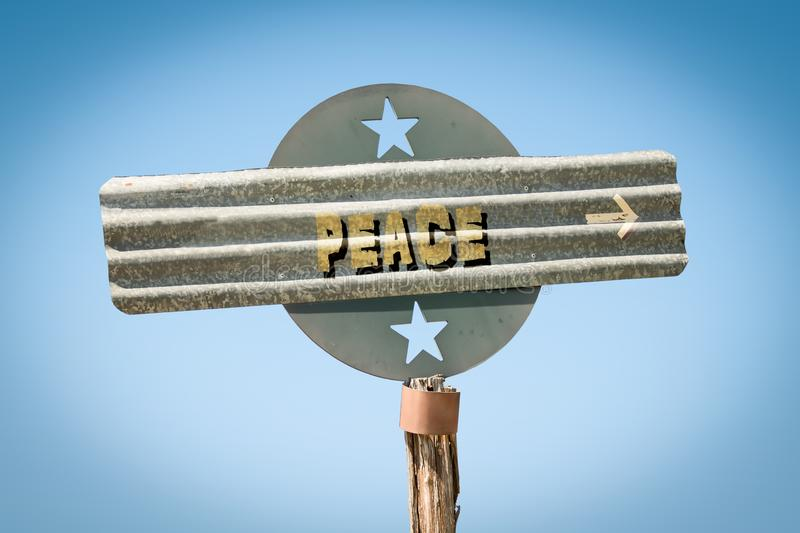Street Sign to Peace. Street Sign the Direction Way to Peace stock photography
