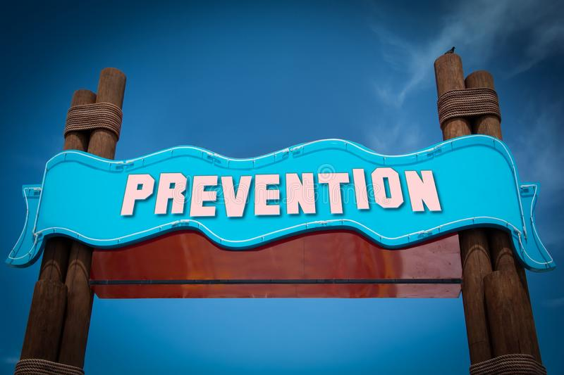 Street Sign to Prevention. Street Sign the Direction Way to Prevention stock images