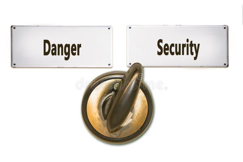 Street Sign to Security versus Danger. Street Sign the Direction Way to Security versus Danger royalty free stock photos