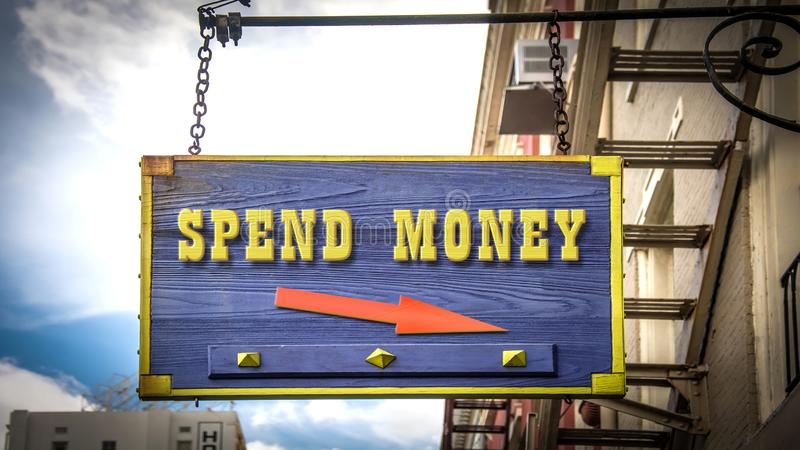 Street Sign Spend Money. Street Sign to Spend Money royalty free illustration