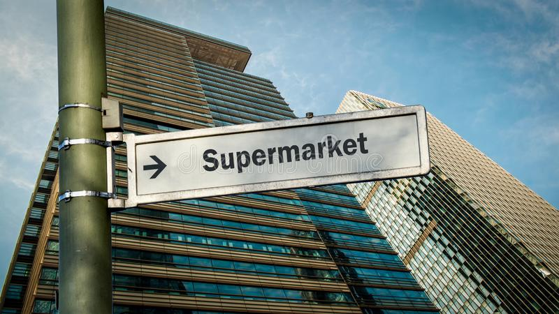 Street Sign to Supermarket. Street Sign the Direction Way to Supermarket vector illustration