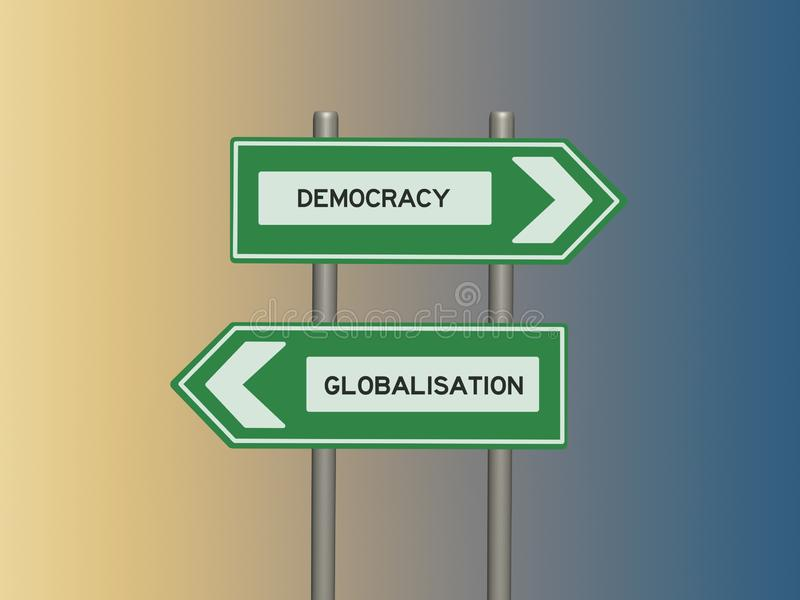 Street sign on twin signposts and colored background. Democracy and globalization signs on twin signposts against a color gradient background vector illustration