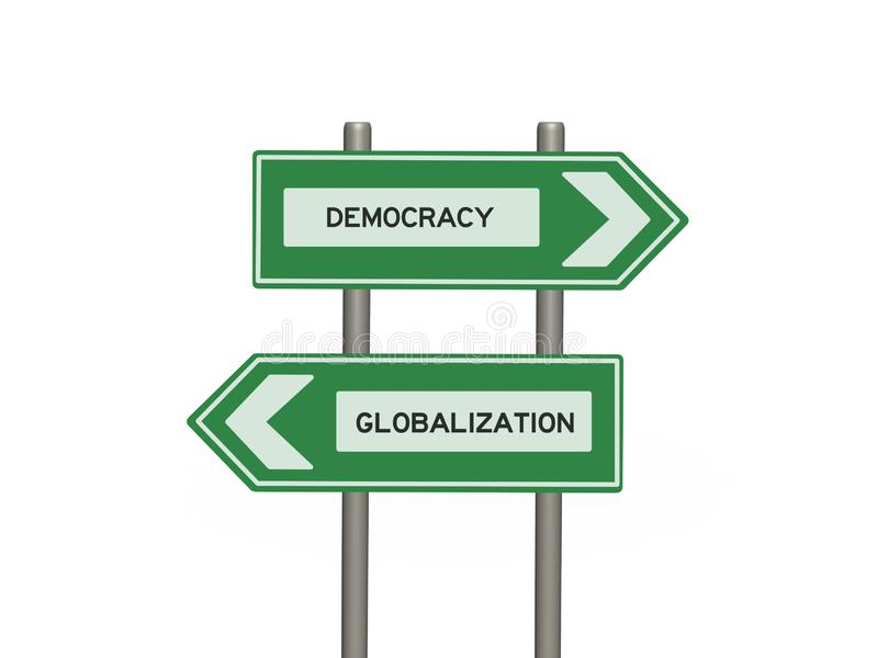 Street sign on twin signposts and white background. Democracy and globalization signs on twin signposts against a white background stock illustration