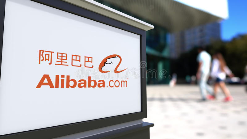 Street signage board with Alibaba.com logo. Blurred office center and walking people background. Editorial 3D rendering. United States vector illustration