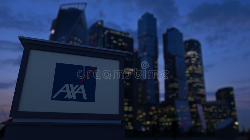 Street signage board with AXA logo in the evening. Blurred business district skyscrapers background. Editorial 3D. United States royalty free stock photo
