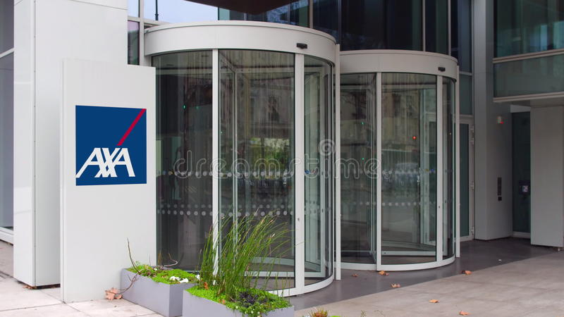 Street signage board with AXA logo. Modern office building. Editorial 3D rendering. Street signage board with AXA logo. Modern office building. Editorial 3D royalty free stock photography